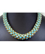 Turquoise Swarovski Crystals Hand Woven into a ... - $257.81