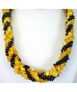 5 Braided Variegated Strands of Amber Chip Neck... - $141.12