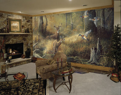 C826 rustic october memories deer cabin wall mural8murals for Deer mural wallpaper