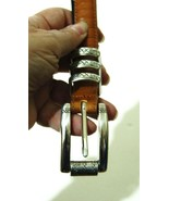 BRIGHTON Wms Gold Reptile Leather Belt Silver S... - $13.99