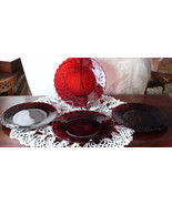 Fostoria Ruby Plates Salad set of 4 Vintage Han... - $86.00