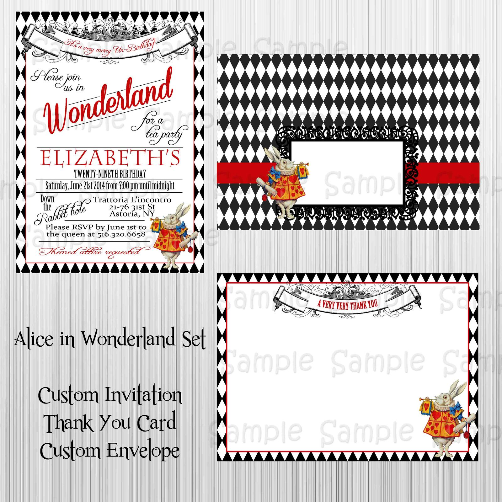 alice in wonderland black and white invitation