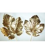 Vintage GOLD FOIL Millinery Flower Grape Leaf C... - $10.70