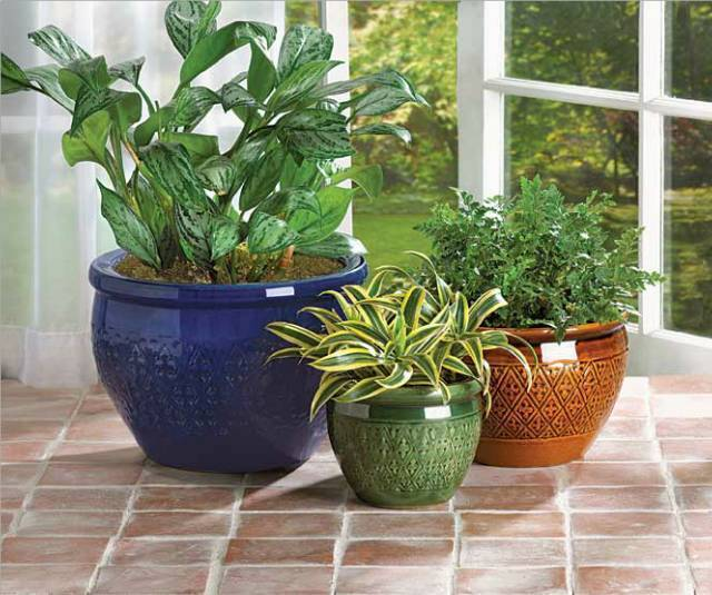 3 Large Flower Pots Planters Ceramic Plant Holders Garden Blue Brown Green