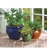 3 Large Flower Pots Planters Ceramic - $22.00