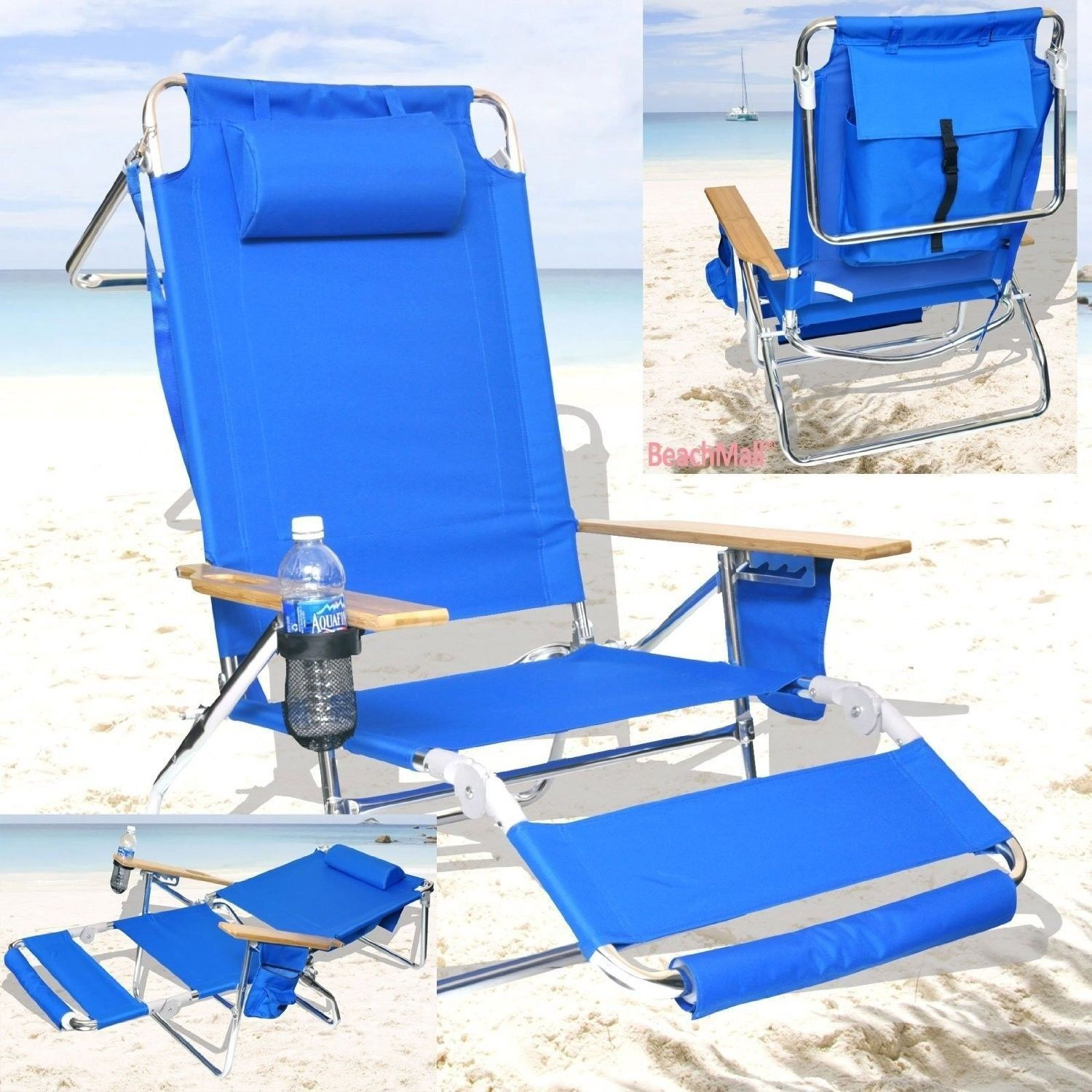 Beach chair deluxe lounge reclining pool patio deck for 3 in 1 beach chaise lounge