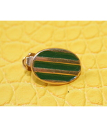 Vintage gold and green stripes oval tie pin cla... - $9.99