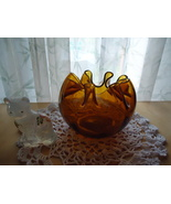 Vintage Amber Blown Glass Ruffled Flower Bowl A... - $44.00