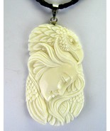 Hand Carved Water Buffalo Goddess with Eagle Pe... - $146.88