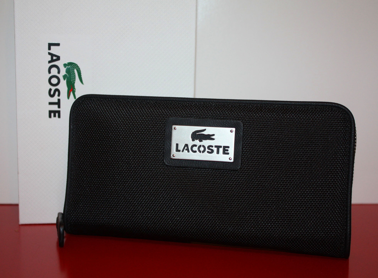 Lacoste Antares Large Zip Around Wallet   Black
