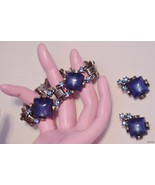 Rhinestone Cabochon Bracelet Earrings Set 7