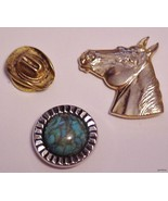lot of 3 Western Goldtone Button Covers Horse C... - $15.95