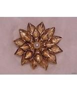 Boucher Fancy Gold Dalhia Brooch with Pearl Cen... - $59.95
