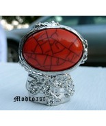 Arty Oval Ring Coral Orange Silver Size 7.5 - $22.99