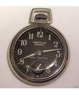 VINTAGE BLACK DIAL WESTCLOX WINDUP WATCH CLEAN ... - $29.95