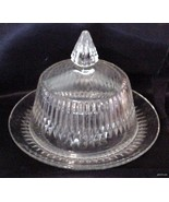 Vintage Ribbed Pointed Clear Glass Covered Butt... - $27.95