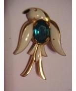Vintage Coro Enamel Aqua Belly Bird Pin Brooch ... - $45.49
