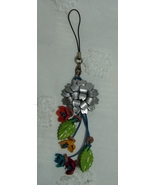 Leather Flower Bag Phone Charm Silver - $15.00
