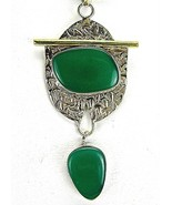 Green Chalcedony TearDrop Gold 14k Vermeil Ster... - $93.12