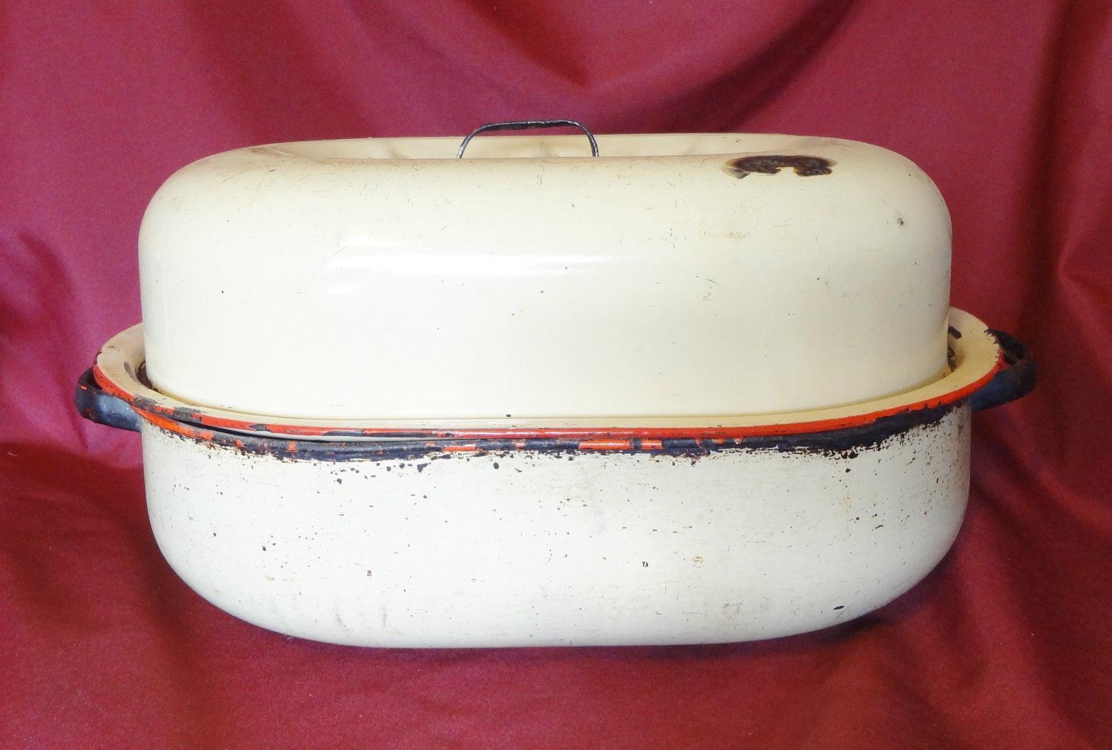 Vintage Large Heavy Beige Red Enamel Turkey Roasting Pan
