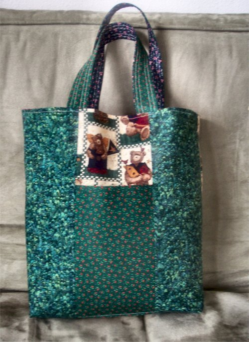 Hand Made Reversible  Side Pocket Tote matching handle