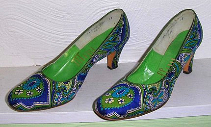 Womens Vintage 60s 70s Psychedelic Mod Shoes Pumps 6 5