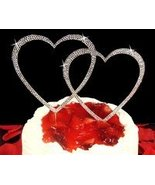 LARGE DOUBLE HEART SILVER CRYSTAL WEDDING CAKE ... - $64.99