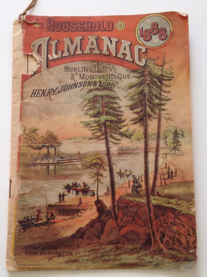 antique 1888 household almanac vintage calendar burlington