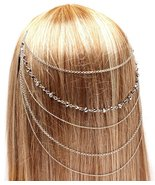 Hair Comb Head Chain Hematite Crystal Beads Boh... - $16.00