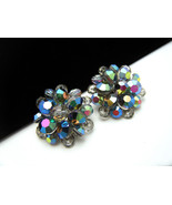 Vintage AB Aspirin Crystal Cluster Earrings Col... - $19.79
