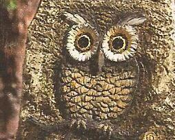 Image 1 of Landscaping Solar Lighted Rock with Owl Carving