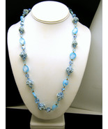 Vintage Necklace Blue Crystal Glass Window Fros... - $54.44