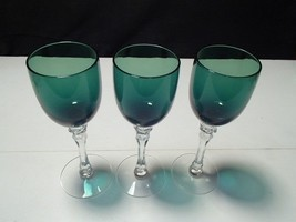 3 KELLY GREEN CRYSTAL WINE STEMS~~unknown maker... - $14.95