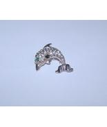 Dolphin Pin Brooch Pave Clear Rhinestone Green Eye - $14.99
