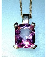 Cushion Cut Pink Topaz Solitaire Pendant Yellow... - $428.88