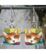 Handmade Glass Earrings square 20mm Cat 251 art... - $15.00