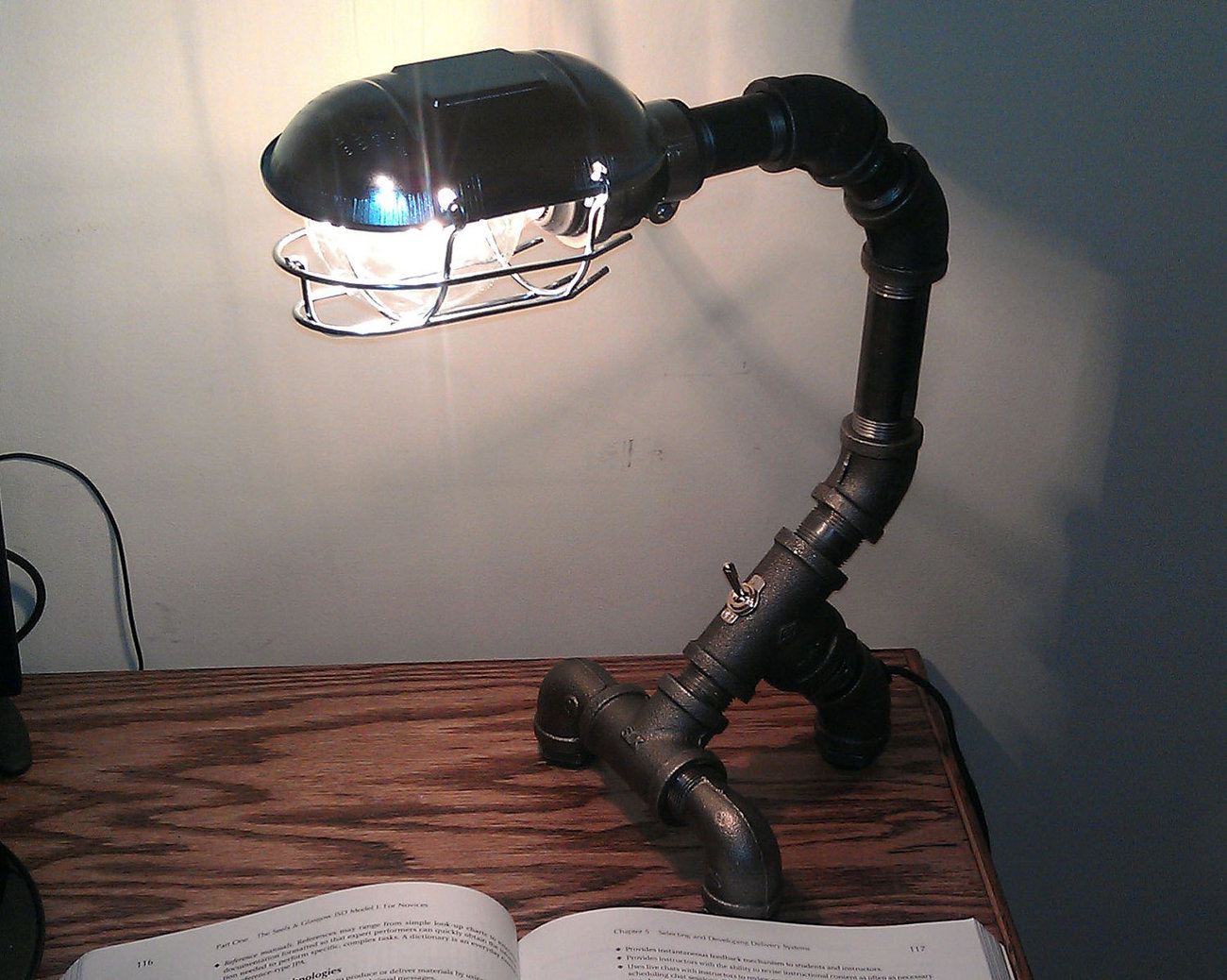 Insustrial Black Metal Pipe Desk Lamp: PDL-03