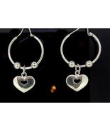 Sterling Silver Hoop Heart Earrings - $125.00