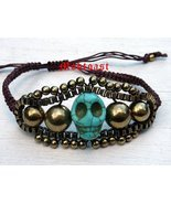 Day of the Dead Bracelet Brown Cord Antique Gol... - $12.99