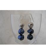 SOLD! Earrings: Baroque Blue & Silver Glass Pea... - $18.00
