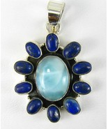 Larimar Oval Cabochon with Oval Lapis Cabochons... - $83.52
