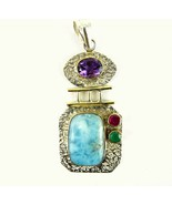 Larimar with Amethyst + Ruby + Emerald Gold 14k... - $85.94