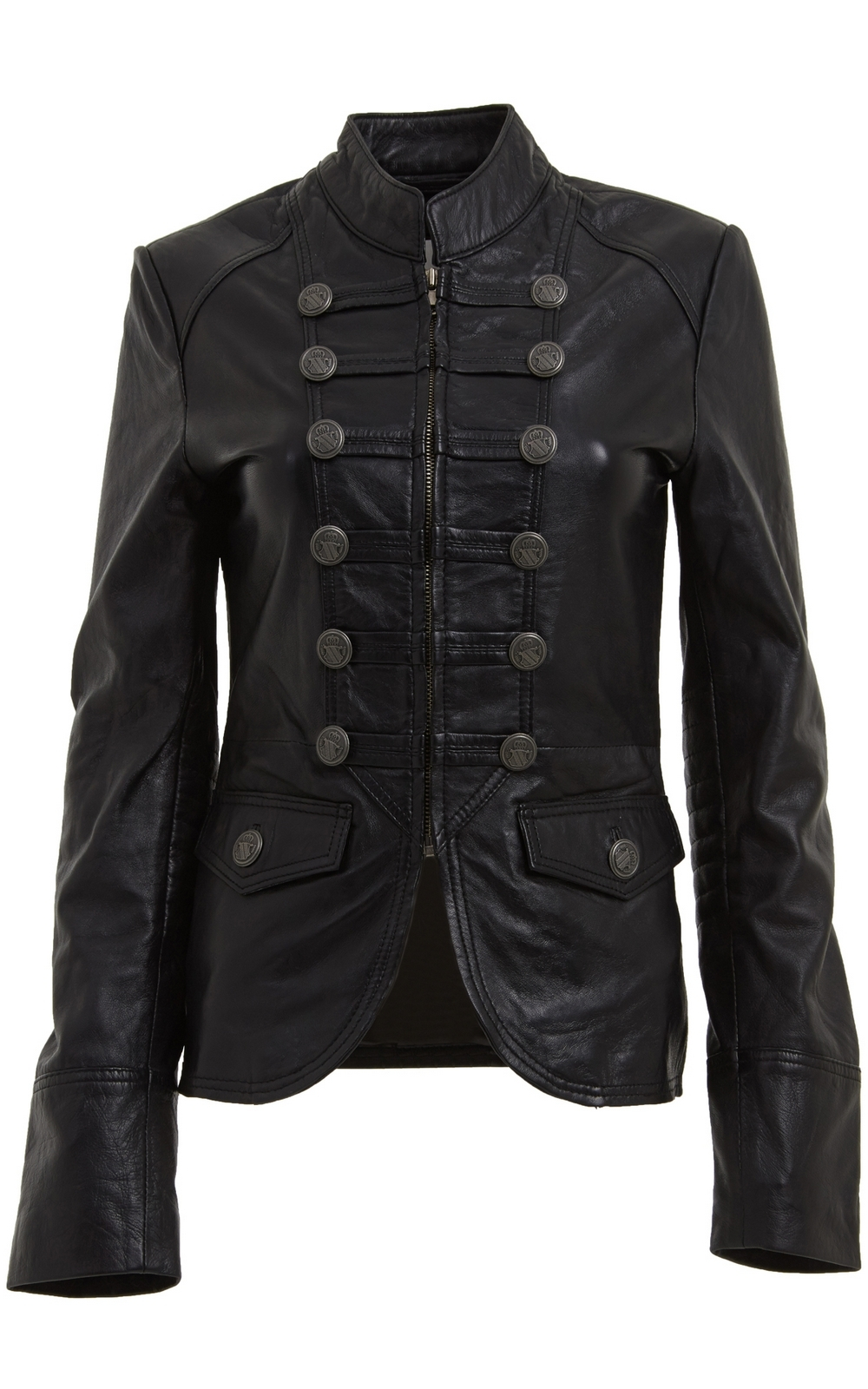 Womens Military Style Leather Blazer Jacket Womens Outerwear Leather Jacket Coats Jackets