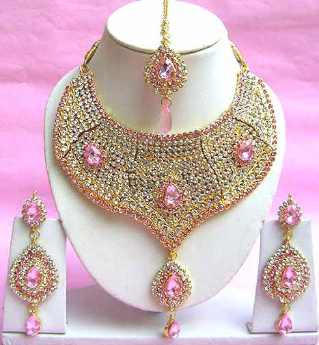 Indian bridal jewelry set bollywood diamond pink color for Pink wedding jewelry sets