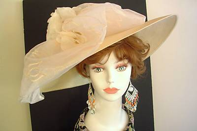 Ivory Cream Wide Brim Bow Church Hat Couture Dress Hats