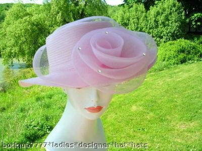 LADIES PINK BRIM SOCIETY CHURCH HAT WOMENS DESIGNER HAT
