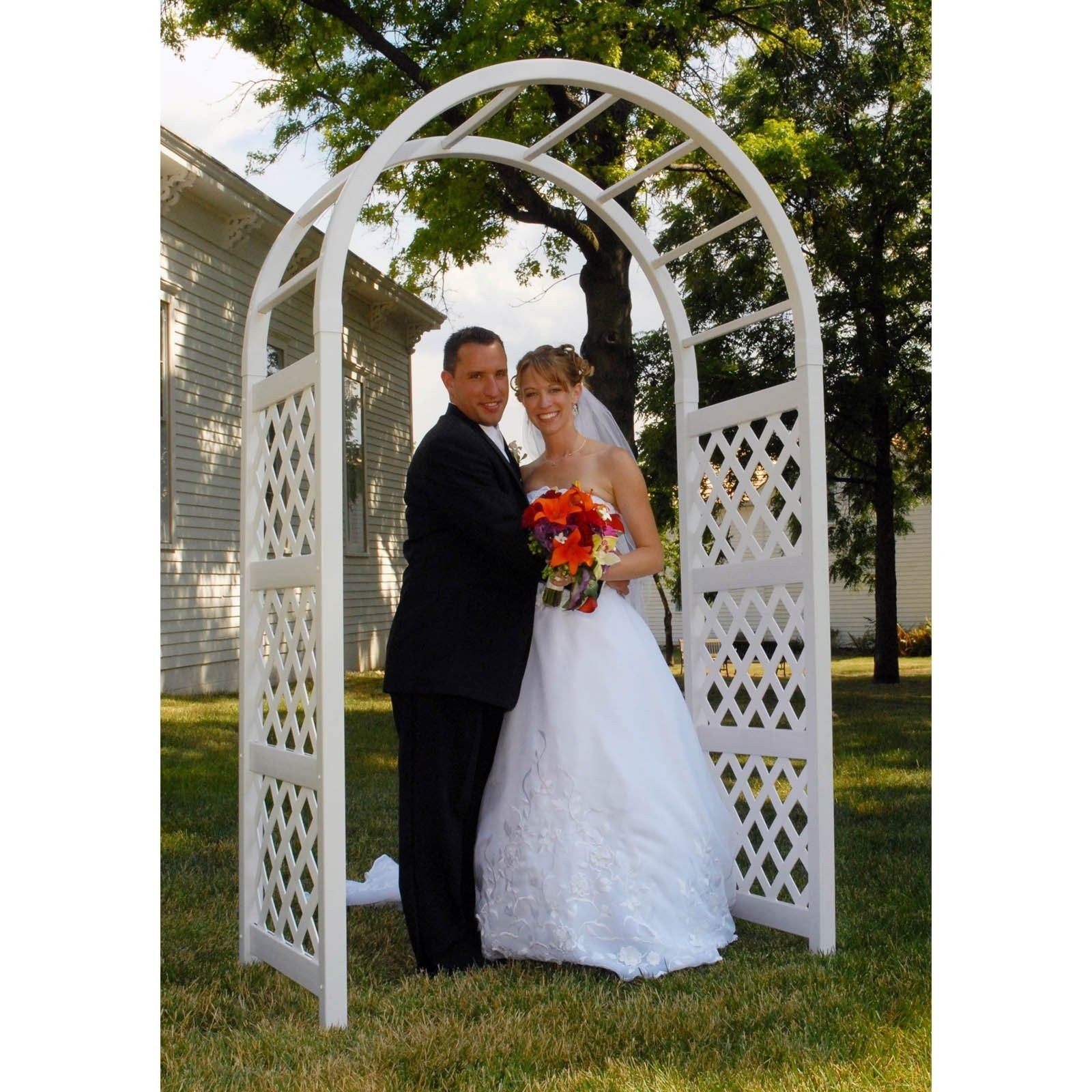 Garden Wedding Arch Arbor White Vinyl 7 5 Ft Anchors