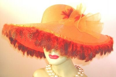 ORANGE VICTORIAN WIDE BRIM WEDDING CHURCH HAT DERBY HAT