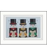 Three Frosty Tenors snowman holiday cross stitc... - $5.40