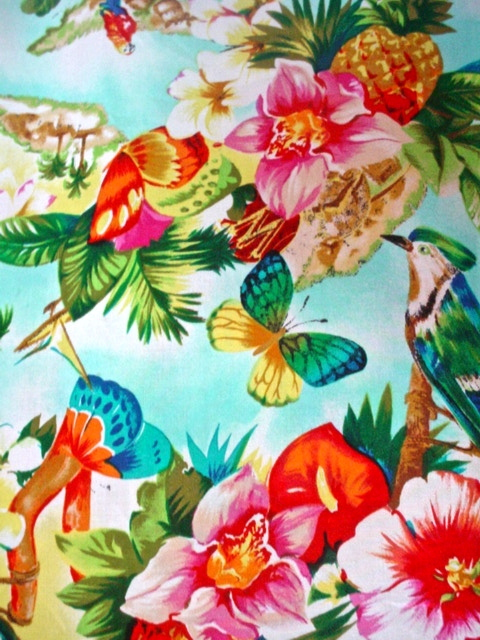 Vintage Womens Hawaiian Shirt 1980's Clio 100% Rayon Birds Butterflies Flowers